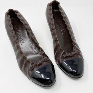 Chanel Ballet Bow Heels 8.5 38.5 Cap Toe Leather